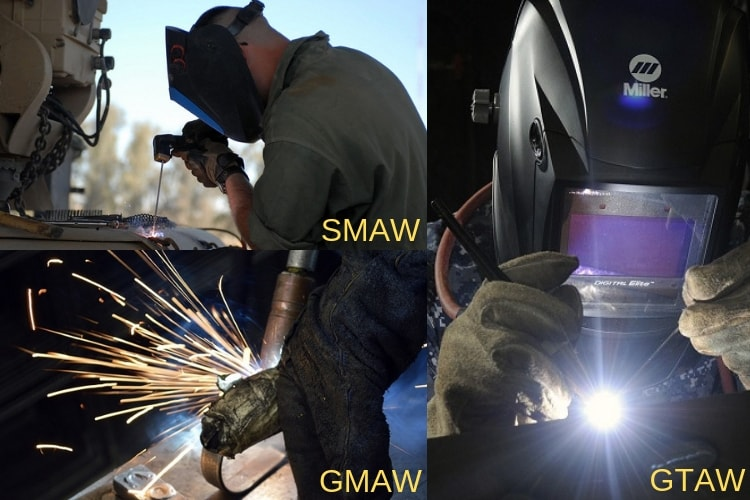 difference between smaw  gmaw and gtaw welding processes