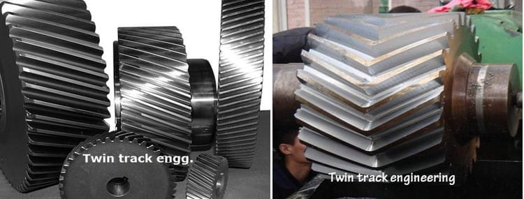 Difference between helical gear and herringbone gear